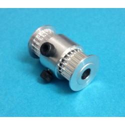 Puleggia Doppia GT2 20 Denti Passo 2mm per stampante 3D Prusa Mendel Reprap Twin Belt Pulley